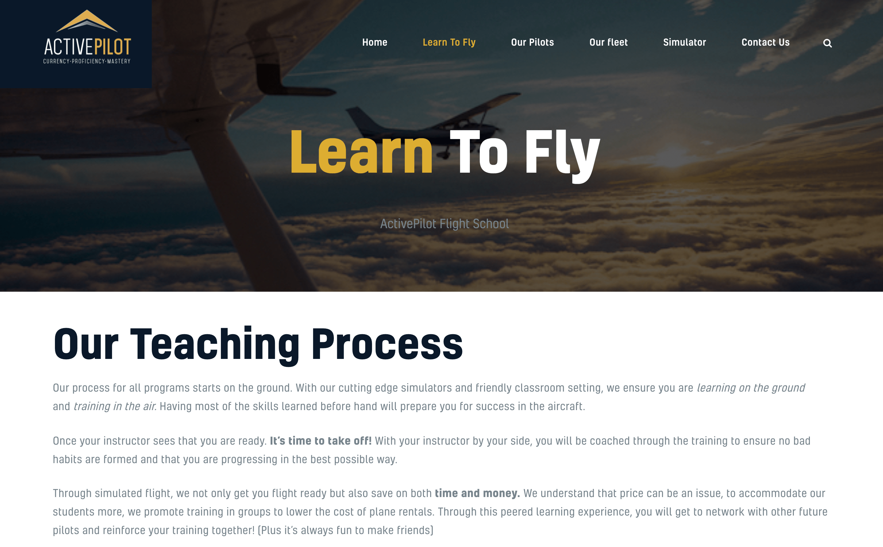 Active Pilot - Learn to fly with our proven pilot teaching process.