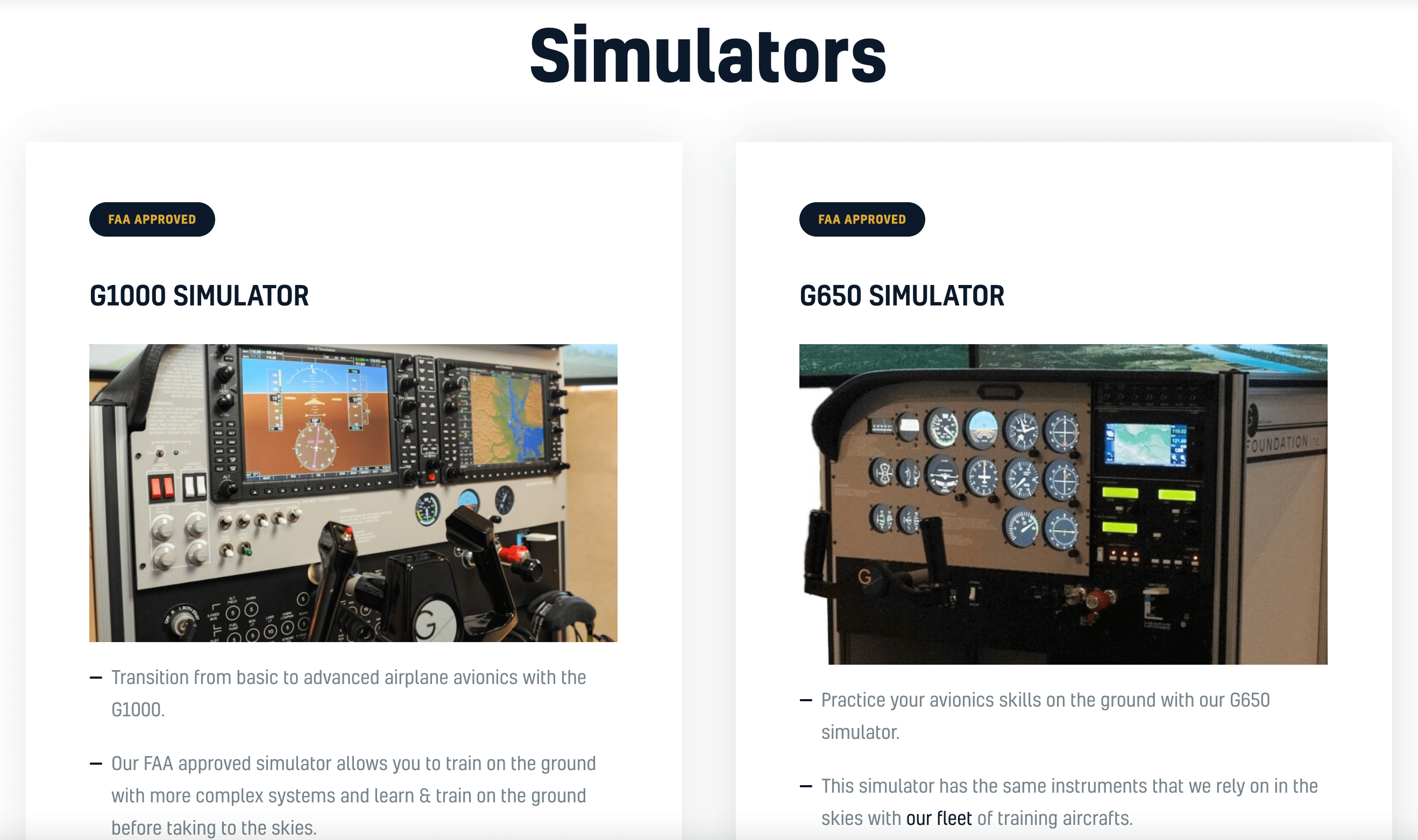 Flight simulators to learn how to fly